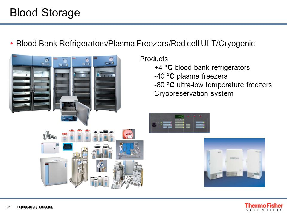 21 Proprietary & Confidential Blood Storage Blood Bank Refrigerators/Plasma Freezers/Red cell ULT/Cryogenic Proprietary & Confidential Products +4 °C blood bank refrigerators -40 °C plasma freezers -80 °C ultra-low temperature freezers Cryopreservation system