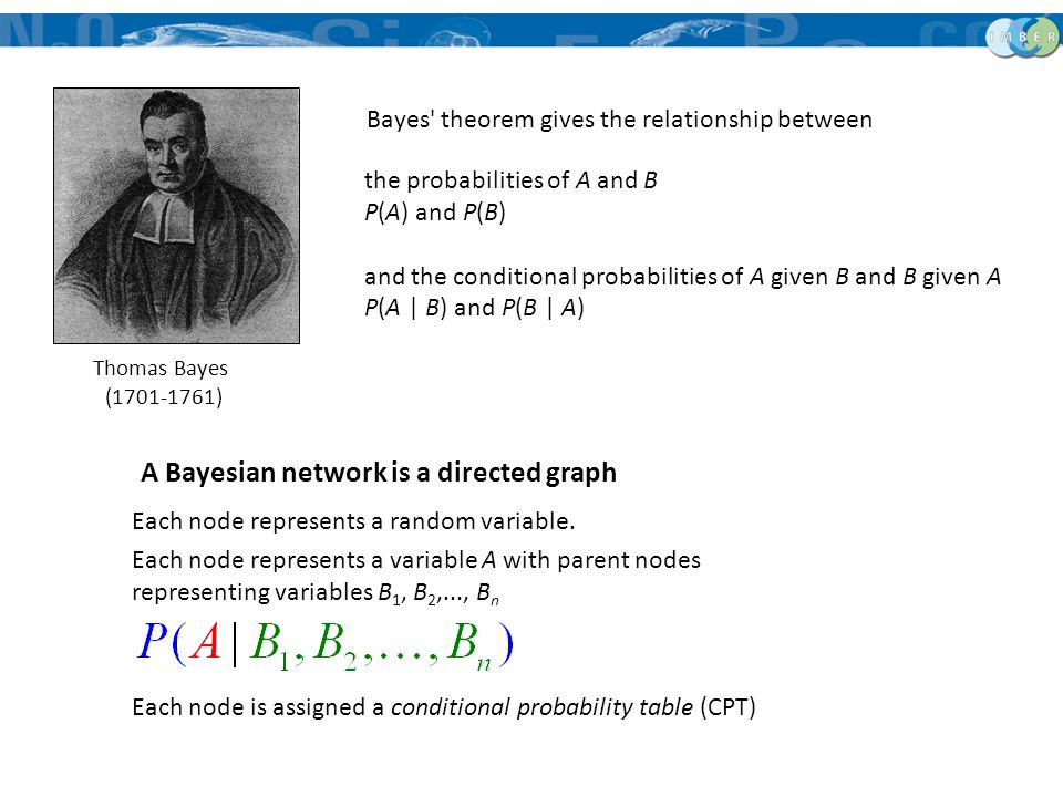 the probabilities of A and B P(A) and P(B) and the conditional probabilities of A given B and B given A P(A | B) and P(B | A) Thomas Bayes (1701-1761)