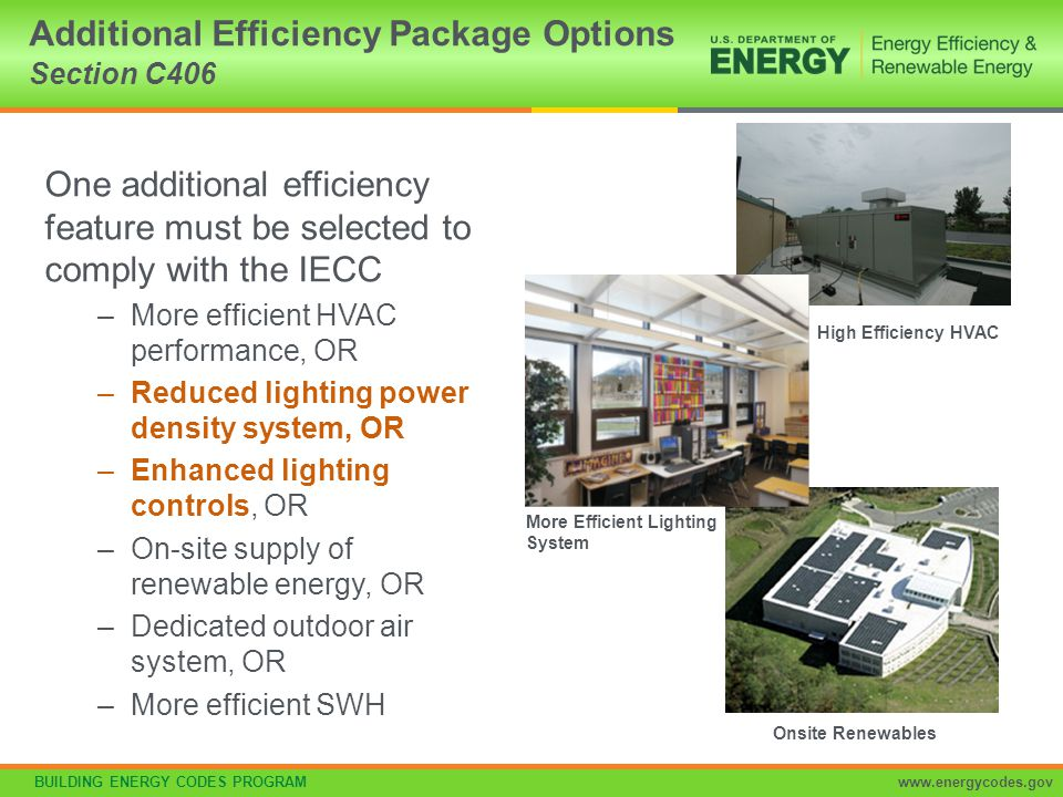BUILDING ENERGY CODES PROGRAMwww.energycodes.gov Reduced lighting power per C406.3 –Whole building LPD determined using 90% of values in Table C405.4.2(1) x floor area for the building types OR –Using 90% by the space-by-space method in Section C405.4.2 –Determine total LPD of building using reduced whole building interior lighting power in Table 406.3 x floor area for the building types Additional Efficiency Package Options Section C406