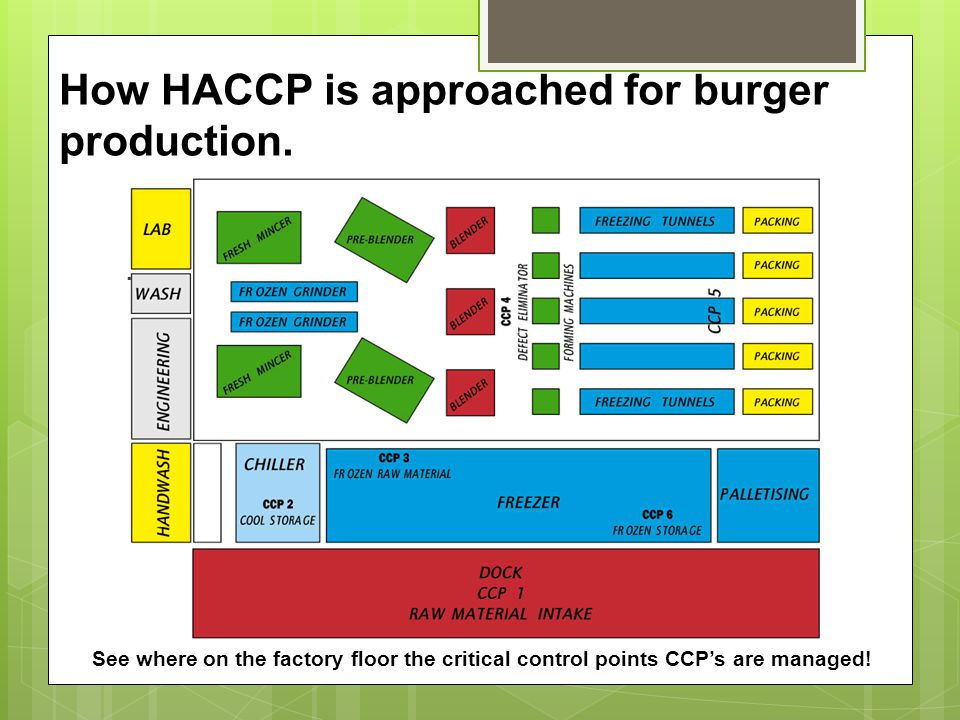 How HACCP is approached for burger production.. See where on the factory floor the critical control points CCP's are managed!
