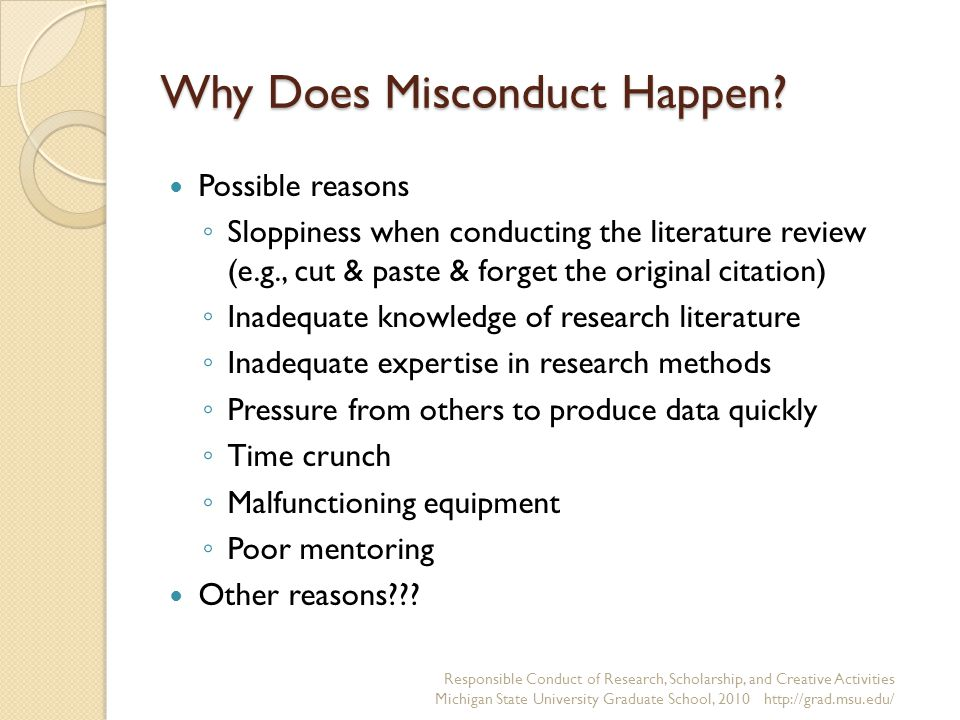 Why Does Misconduct Happen.