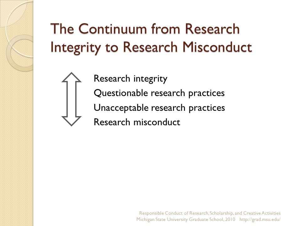 The Continuum from Research Integrity to Research Misconduct Research integrity Questionable research practices Unacceptable research practices Research misconduct Responsible Conduct of Research, Scholarship, and Creative Activities Michigan State University Graduate School, 2010 http://grad.msu.edu/