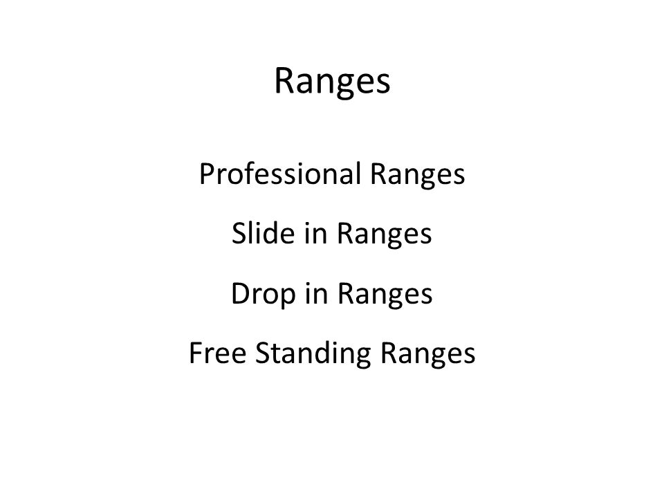 Ranges Professional Ranges Slide in Ranges Drop in Ranges Free Standing Ranges