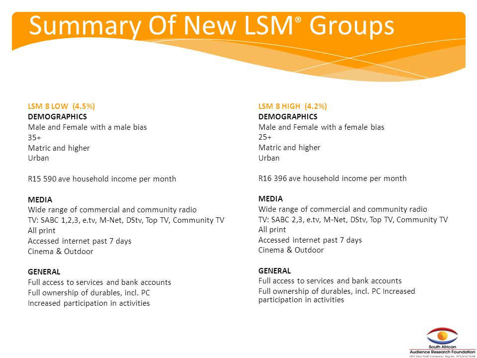 Summary Of New LSM ® Groups LSM 8 LOW (4.5%) DEMOGRAPHICS Male and Female with a male bias 35+ Matric and higher Urban R15 590 ave household income per month MEDIA Wide range of commercial and community radio TV: SABC 1,2,3, e.tv, M-Net, DStv, Top TV, Community TV All print Accessed internet past 7 days Cinema & Outdoor GENERAL Full access to services and bank accounts Full ownership of durables, incl.