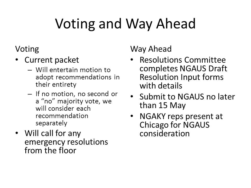 Voting and Way Ahead Voting Current packet – Will entertain motion to adopt recommendations in their entirety – If no motion, no second or a no majority vote, we will consider each recommendation separately Will call for any emergency resolutions from the floor Way Ahead Resolutions Committee completes NGAUS Draft Resolution Input forms with details Submit to NGAUS no later than 15 May NGAKY reps present at Chicago for NGAUS consideration