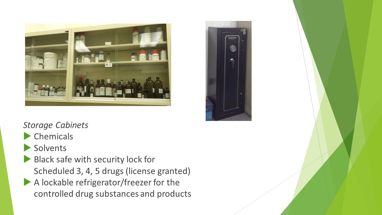 Storage Cabinets  Chemicals  Solvents  Black safe with security lock for Scheduled 3, 4, 5 drugs (license granted)  A lockable refrigerator/freeze