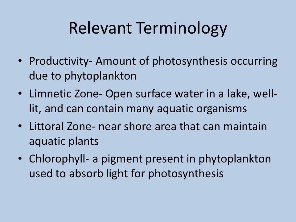 Relevant Terminology Productivity- Amount of photosynthesis occurring due to phytoplankton Limnetic Zone- Open surface water in a lake, well- lit, and can contain many aquatic organisms Littoral Zone- near shore area that can maintain aquatic plants Chlorophyll- a pigment present in phytoplankton used to absorb light for photosynthesis