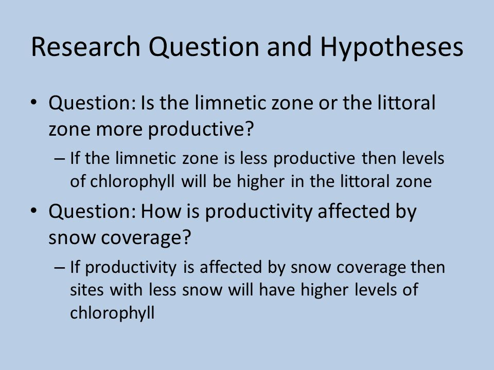 Research Question and Hypotheses Question: Is the limnetic zone or the littoral zone more productive? – If the limnetic zone is less productive then l