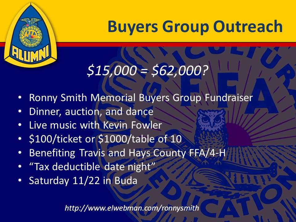Buyers Group Outreach Ronny Smith Memorial Buyers Group Fundraiser Dinner, auction, and dance Live music with Kevin Fowler $100/ticket or $1000/table of 10 Benefiting Travis and Hays County FFA/4-H Tax deductible date night Saturday 11/22 in Buda $15,000 = $62,000.