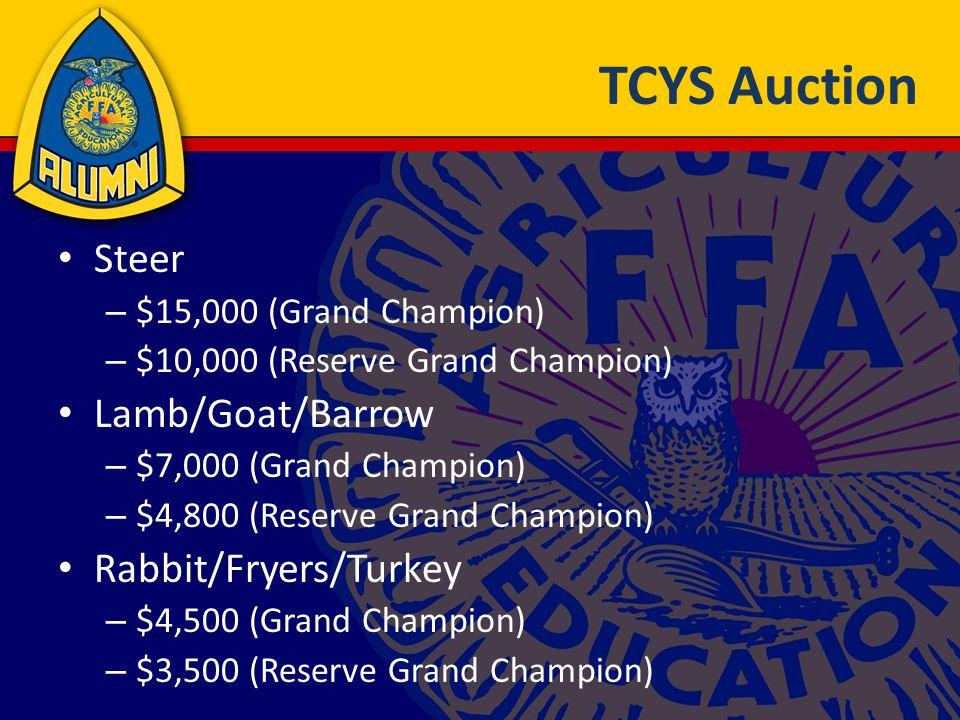 TCYS Auction Steer – $15,000 (Grand Champion) – $10,000 (Reserve Grand Champion) Lamb/Goat/Barrow – $7,000 (Grand Champion) – $4,800 (Reserve Grand Champion) Rabbit/Fryers/Turkey – $4,500 (Grand Champion) – $3,500 (Reserve Grand Champion)