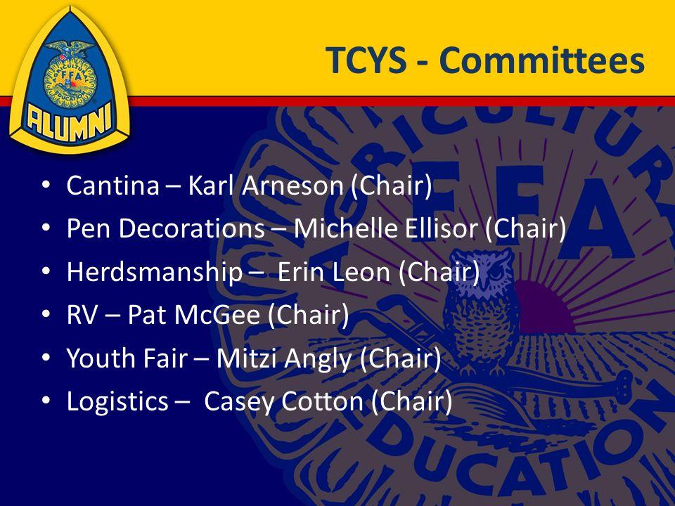 TCYS - Committees Cantina – Karl Arneson (Chair) Pen Decorations – Michelle Ellisor (Chair) Herdsmanship – Erin Leon (Chair) RV – Pat McGee (Chair) Youth Fair – Mitzi Angly (Chair) Logistics – Casey Cotton (Chair)