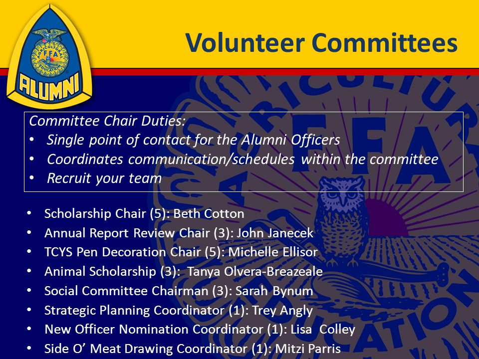Volunteer Committees Scholarship Chair (5): Beth Cotton Annual Report Review Chair (3): John Janecek TCYS Pen Decoration Chair (5): Michelle Ellisor Animal Scholarship (3): Tanya Olvera-Breazeale Social Committee Chairman (3): Sarah Bynum Strategic Planning Coordinator (1): Trey Angly New Officer Nomination Coordinator (1): Lisa Colley Side O' Meat Drawing Coordinator (1): Mitzi Parris Committee Chair Duties: Single point of contact for the Alumni Officers Coordinates communication/schedules within the committee Recruit your team