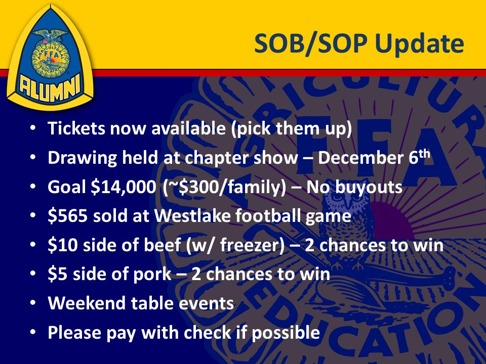 SOB/SOP Update Tickets now available (pick them up) Drawing held at chapter show – December 6 th Goal $14,000 (~$300/family) – No buyouts $565 sold at Westlake football game $10 side of beef (w/ freezer) – 2 chances to win $5 side of pork – 2 chances to win Weekend table events Please pay with check if possible