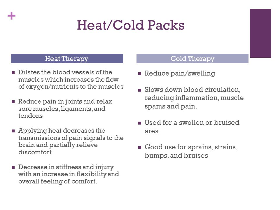 + Heat/Cold Packs Dilates the blood vessels of the muscles which increases the flow of oxygen/nutrients to the muscles Reduce pain in joints and relax sore muscles, ligaments, and tendons Applying heat decreases the transmissions of pain signals to the brain and partially relieve discomfort Decrease in stiffness and injury with an increase in flexibility and overall feeling of comfort.