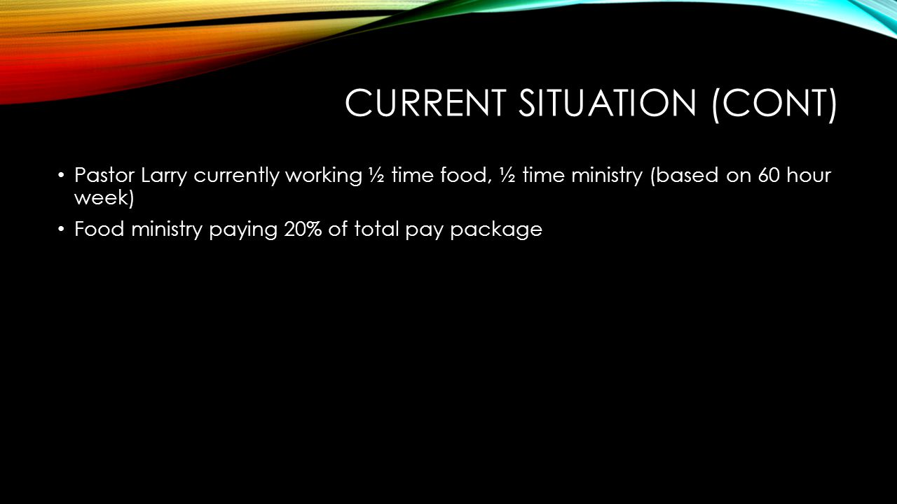 CURRENT SITUATION (CONT) Pastor Larry currently working ½ time food, ½ time ministry (based on 60 hour week) Food ministry paying 20% of total pay package