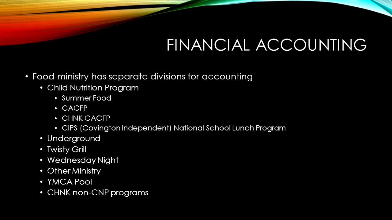 FINANCIAL ACCOUNTING Food ministry has separate divisions for accounting Child Nutrition Program Summer Food CACFP CHNK CACFP CIPS (Covington Independ