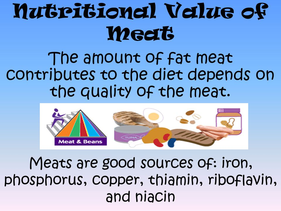 Nutritional Value of Meat The amount of fat meat contributes to the diet depends on the quality of the meat.