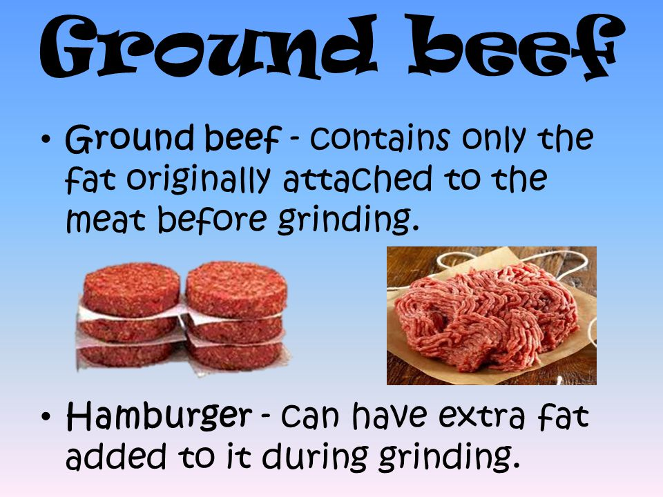 Ground beef Ground beef - contains only the fat originally attached to the meat before grinding.