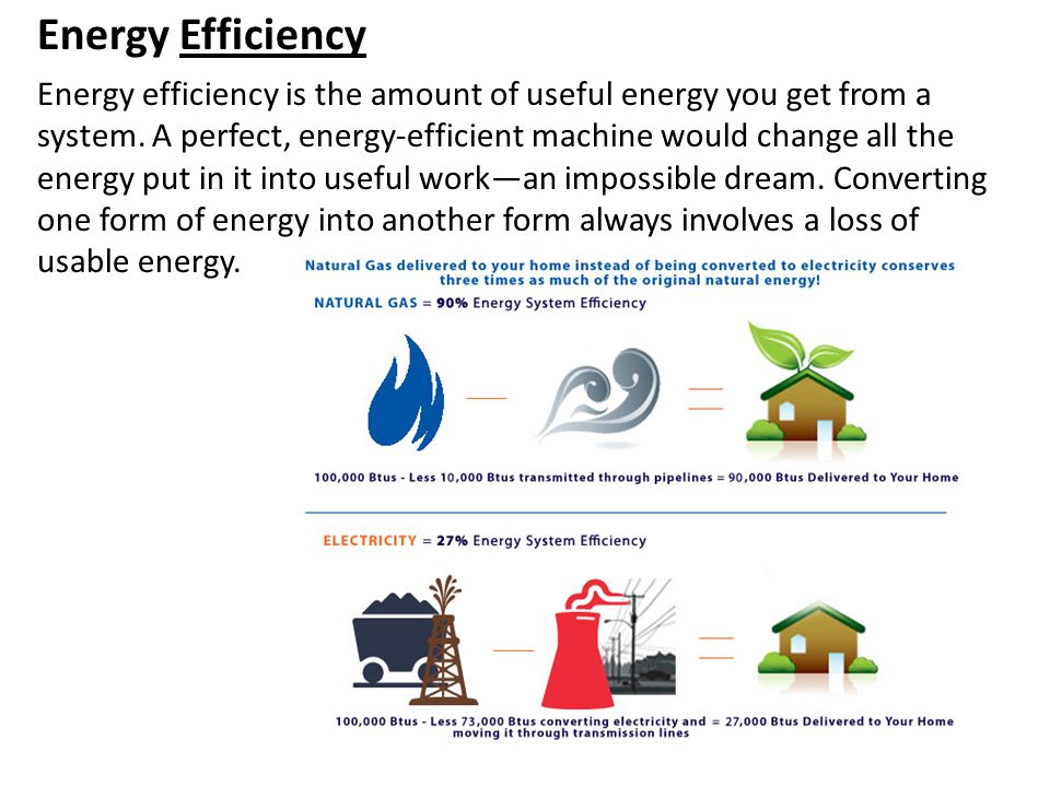 Energy Efficiency Energy efficiency is the amount of useful energy you get from a system. A perfect, energy-efficient machine would change all the ene
