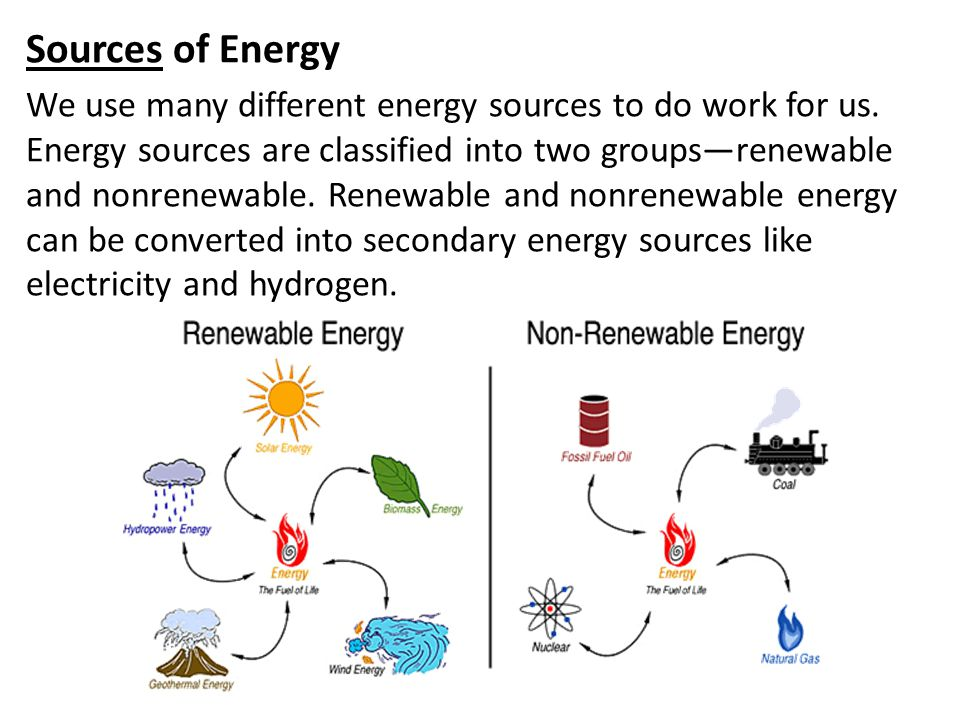 Sources of Energy We use many different energy sources to do work for us. Energy sources are classified into two groups—renewable and nonrenewable. Re