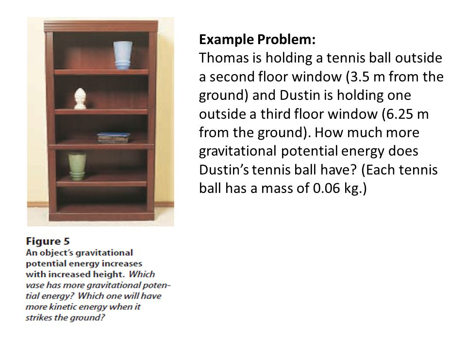 Example Problem: Thomas is holding a tennis ball outside a second floor window (3.5 m from the ground) and Dustin is holding one outside a third floor