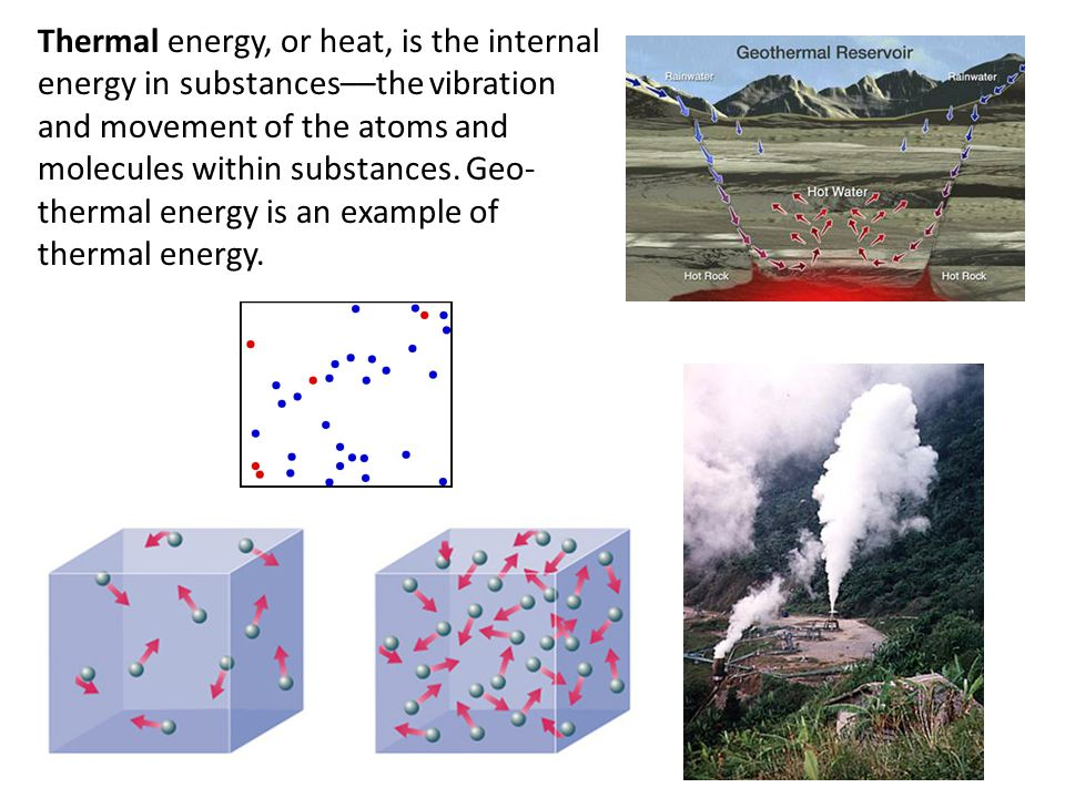 Thermal energy, or heat, is the internal energy in substances––the vibration and movement of the atoms and molecules within substances. Geo- thermal e