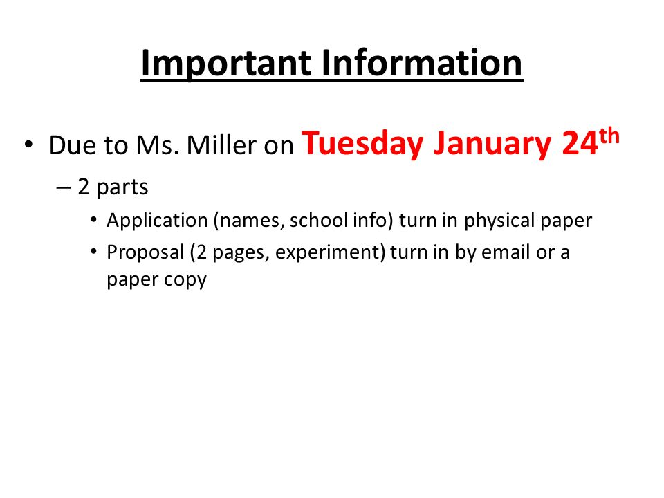 Important Information Due to Ms.