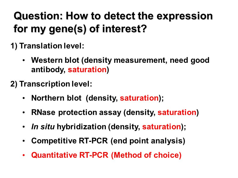 Question: How to detect the expression for my gene(s) of interest.