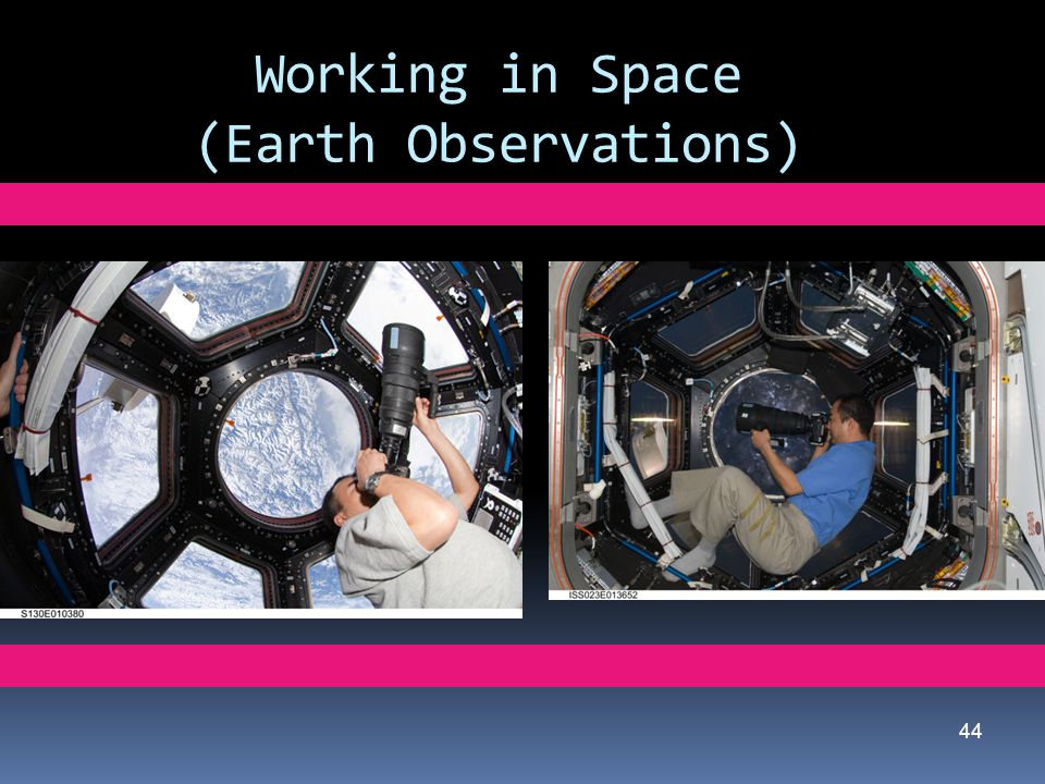 Working in Space (Earth Observations) 44