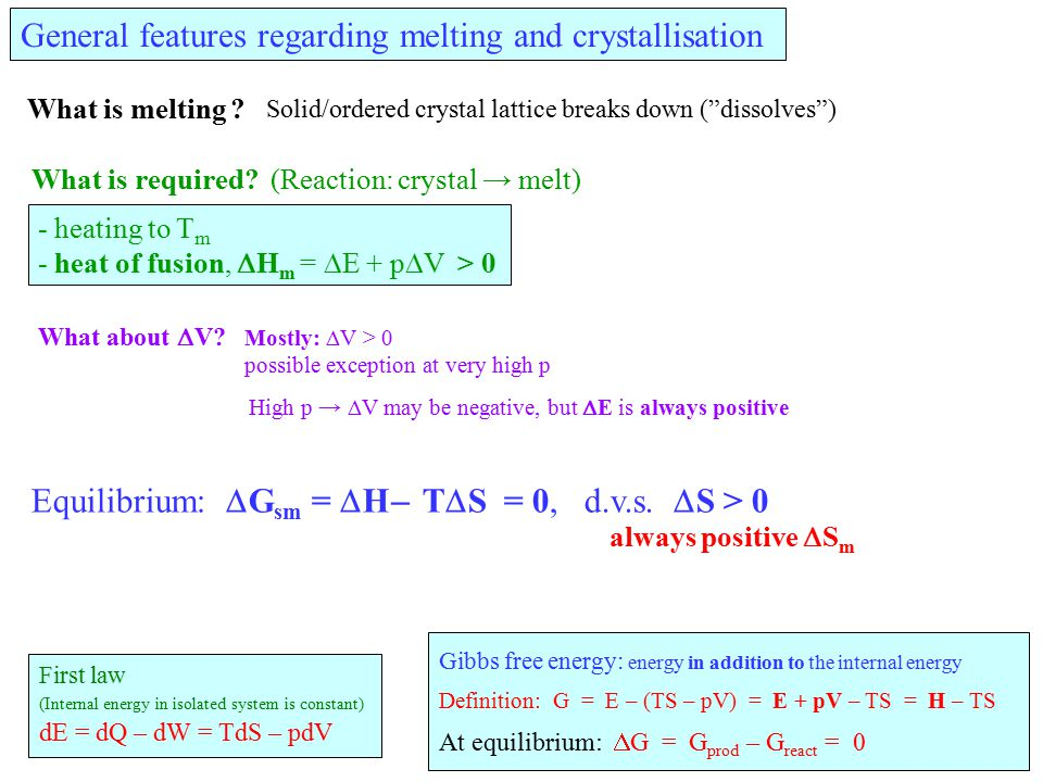 "General features regarding melting and crystallisation What is melting ? Solid/ordered crystal lattice breaks down (""dissolves"") What is required? (Re"