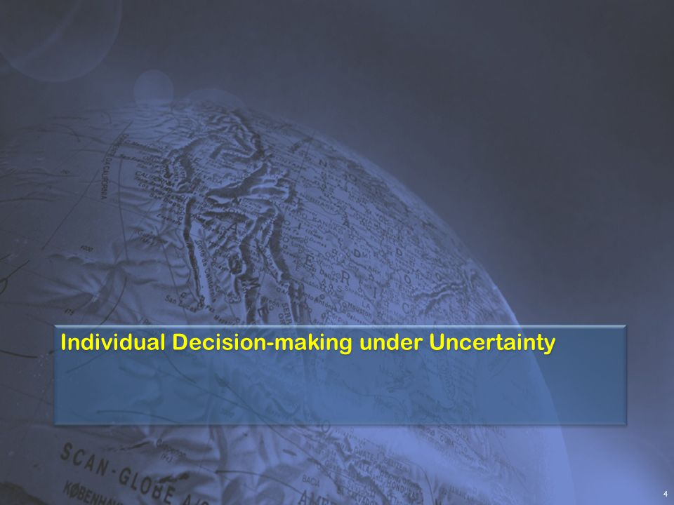 Study Points  Decision-making under uncertainty: Individuals Businesses Society  Economic Theories 3