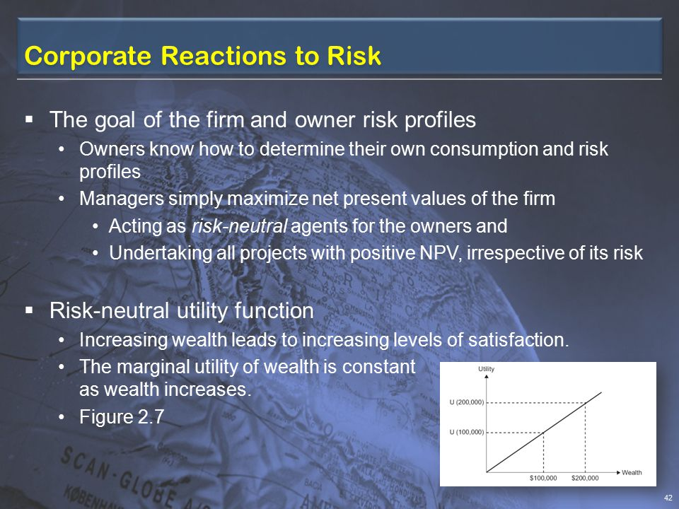 Reaction to Risk – Sole Proprietors and Partners Sole Proprietorship  Being indistinguishable from the individual who owns it  The risk perception and behavior logically is that of its owner Partnership  Reflects some combination of the owners' degrees of risk aversion – except the cases: Partnership interest is held by many partners, has a ready market or is a small portion of the partners' overall investment portfolio Partners clearly understand how the value of their partnership interest changes with changes in the value of other investments 41