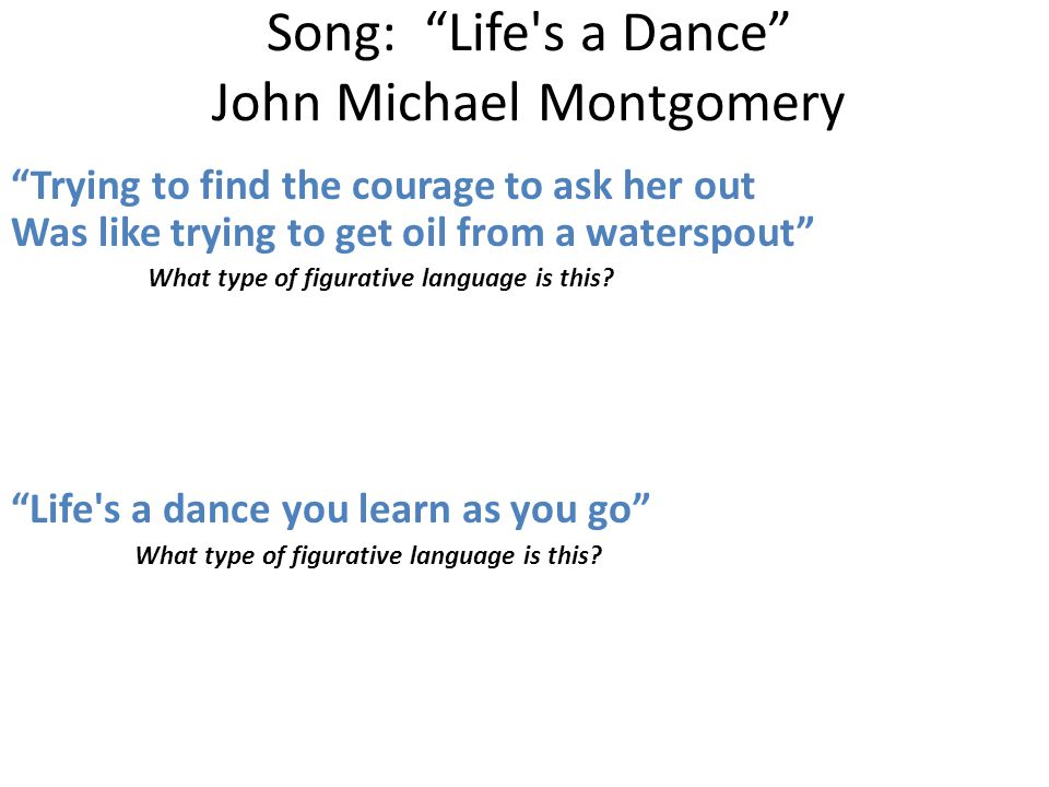 Song: Life s a Dance John Michael Montgomery Trying to find the courage to ask her out Was like trying to get oil from a waterspout What type of figurative language is this.