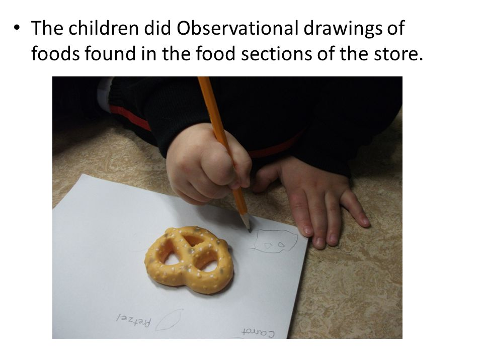 The children did Observational drawings of foods found in the food sections of the store.