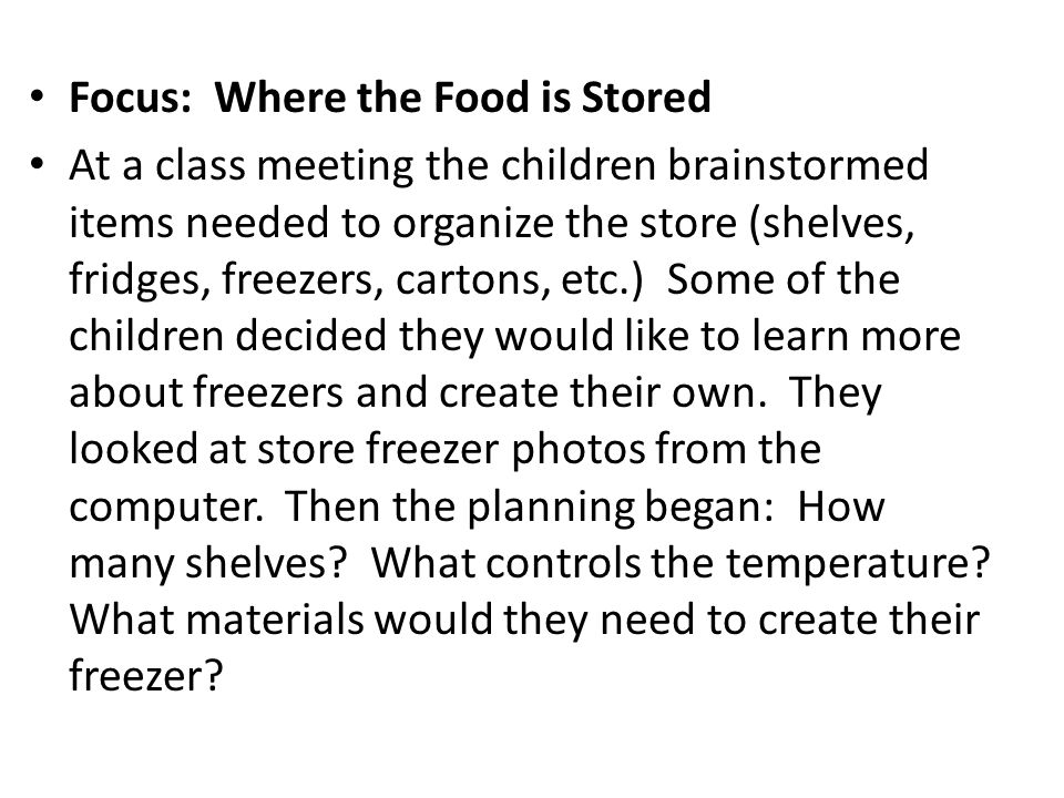 Focus: Where the Food is Stored At a class meeting the children brainstormed items needed to organize the store (shelves, fridges, freezers, cartons, etc.) Some of the children decided they would like to learn more about freezers and create their own.