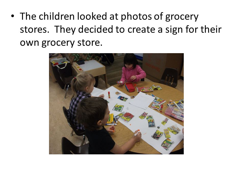 The children looked at photos of grocery stores.