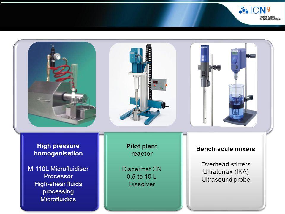 High pressure homogenisation M-110L Microfluidiser Processor High-shear fluids processing Microfluidics Pilot plant reactor Dispermat CN 0.5 to 40 L Dissolver Bench scale mixers Overhead stirrers Ultraturrax (IKA) Ultrasound probe Bench scale mixers Overhead stirrers Ultraturrax (IKA) Ultrasound probe