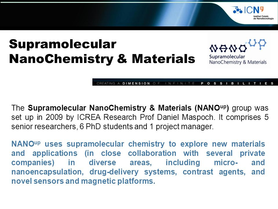 Supramolecular NanoChemistry & Materials The Supramolecular NanoChemistry & Materials (NANO up ) group was set up in 2009 by ICREA Research Prof Daniel Maspoch.