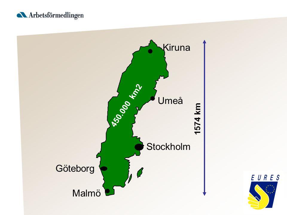 450.000 km2 Stockholm Malmö Göteborg 1574 km Kiruna Umeå