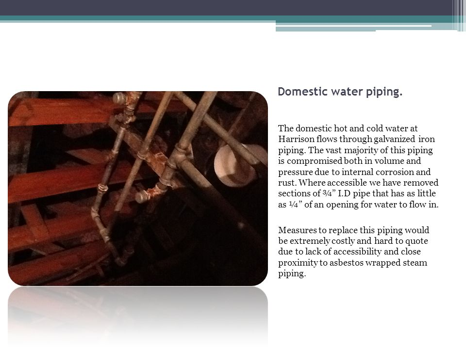 Domestic water piping.