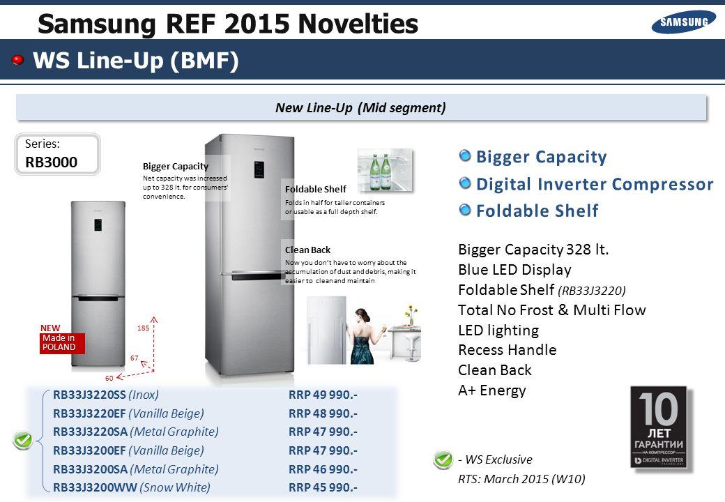 WS Line-Up (BMF) New Line-Up (High segment) RB37J5200SA (Metal Graphite)RRP 54 990.- RB37J5200WW (Snow White)RRP 52 990.- Bigger Capacity / Net 367 lt.