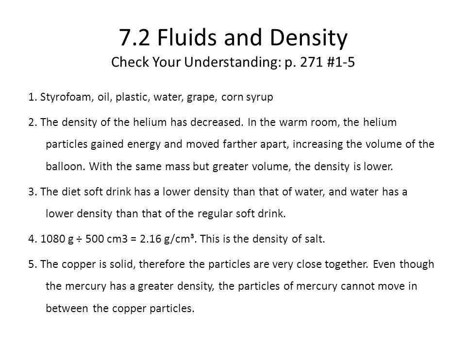 7.2 Fluids and Density Check Your Understanding: p.