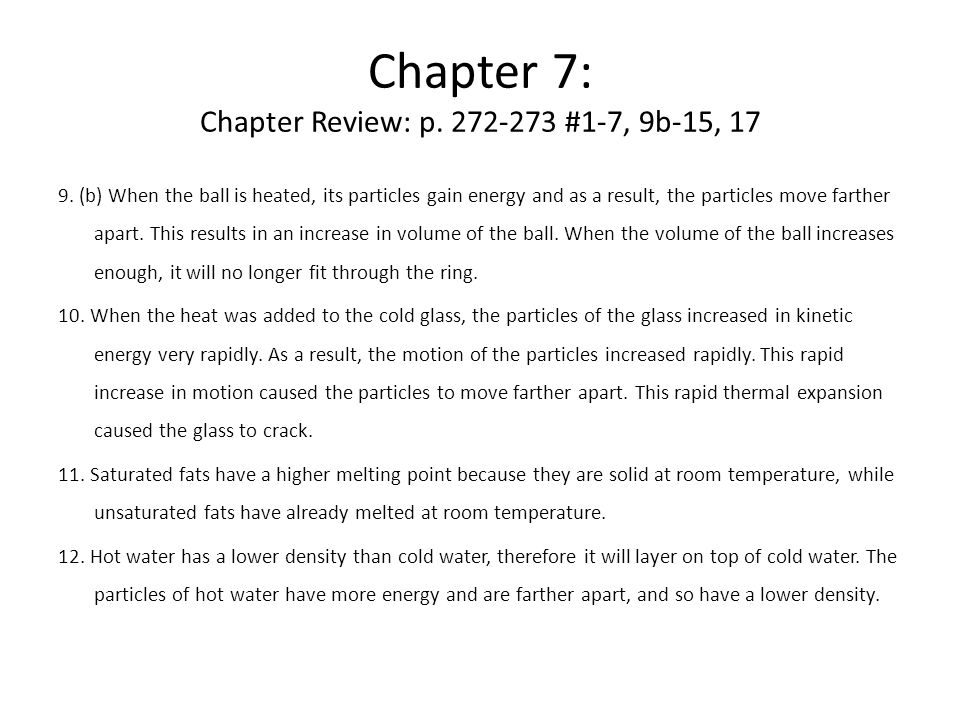 Chapter 7: Chapter Review: p.272-273 #1-7, 9b-15, 17 9.