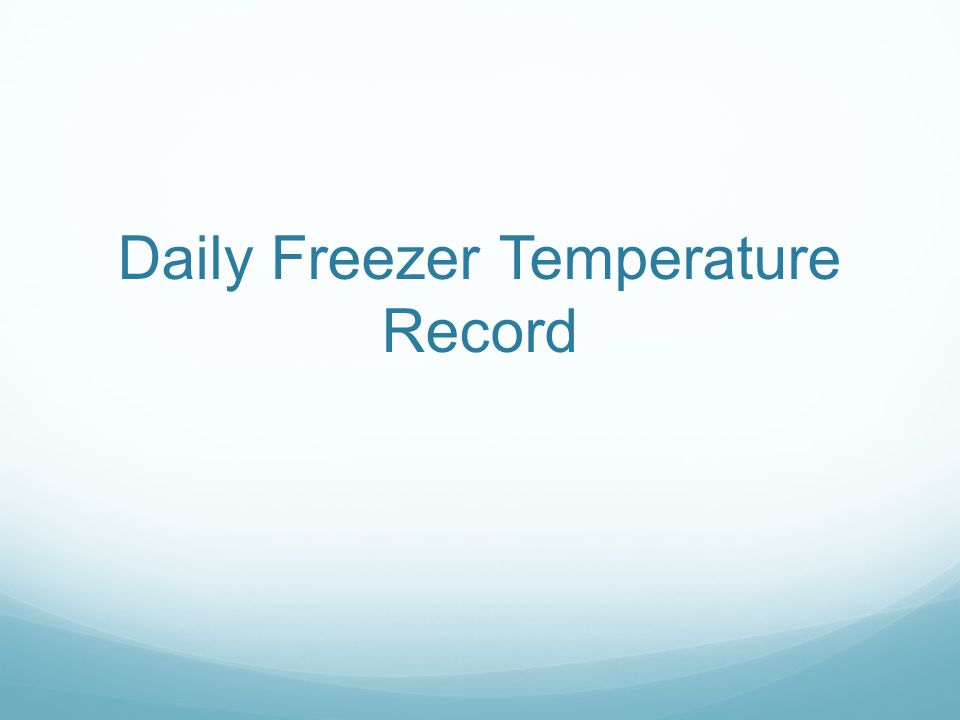 Daily Freezer Temperature Record