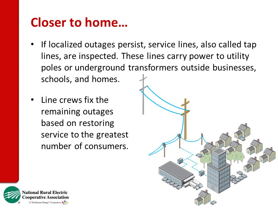 Closer to home… If localized outages persist, service lines, also called tap lines, are inspected. These lines carry power to utility poles or undergr
