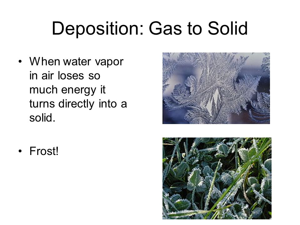 Deposition: Gas to Solid When water vapor in air loses so much energy it turns directly into a solid.