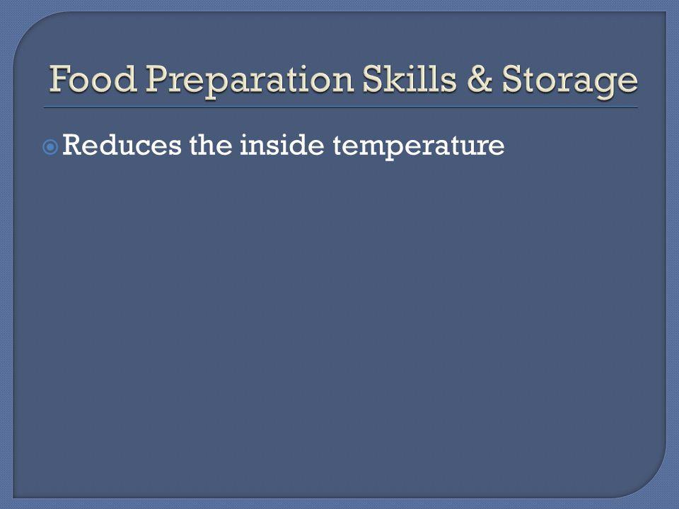  Reduces the inside temperature