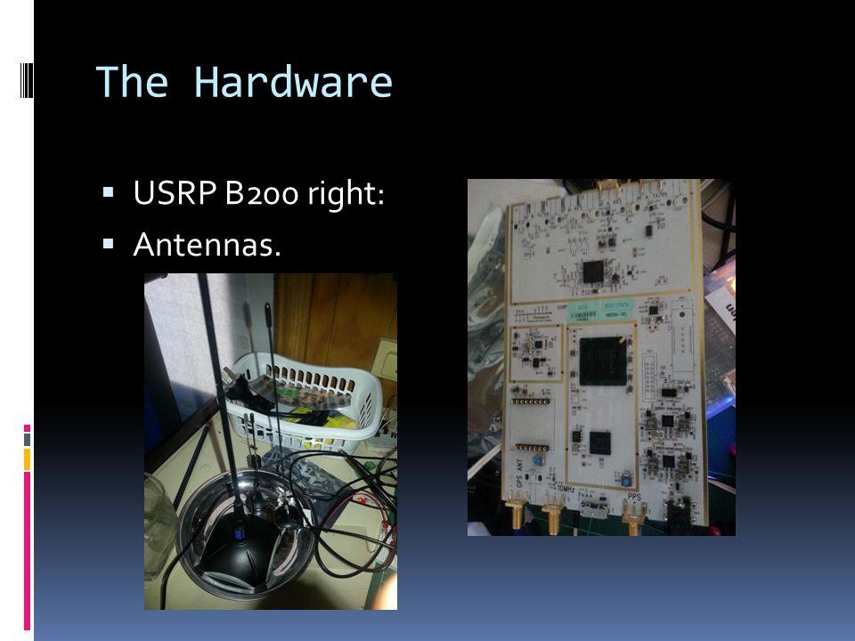 The Hardware  USRP B200 right:  Antennas.