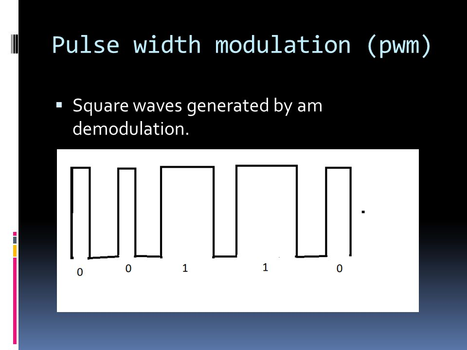 Pulse width modulation (pwm)  Square waves generated by am demodulation.