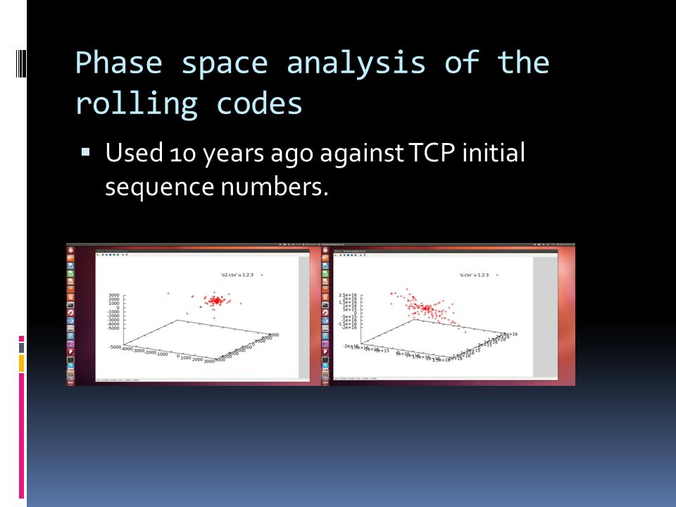 Phase space analysis of the rolling codes  Used 10 years ago against TCP initial sequence numbers.